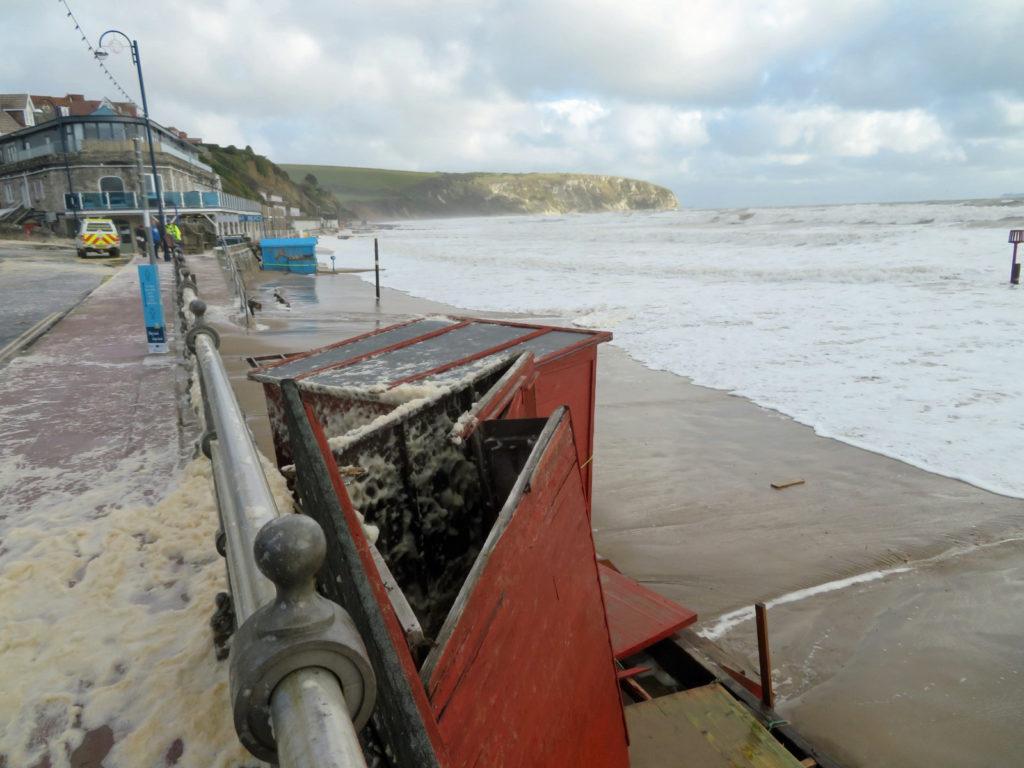 Storm Alex smashes beach huts