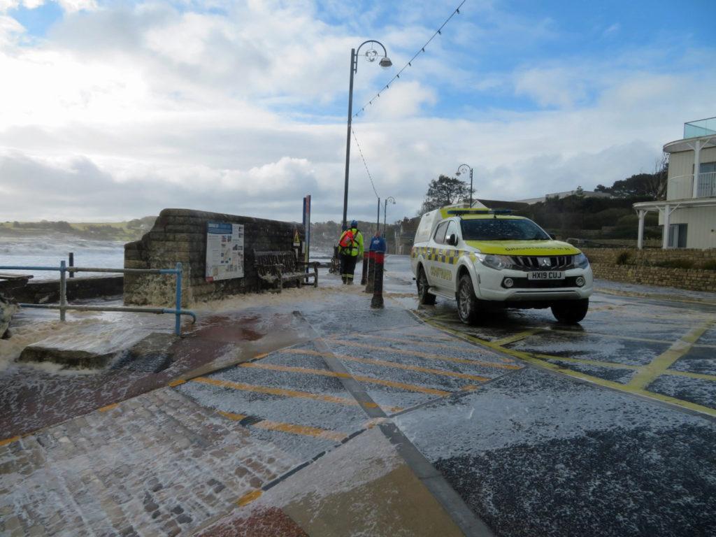 Coastguard vehicle on seafront