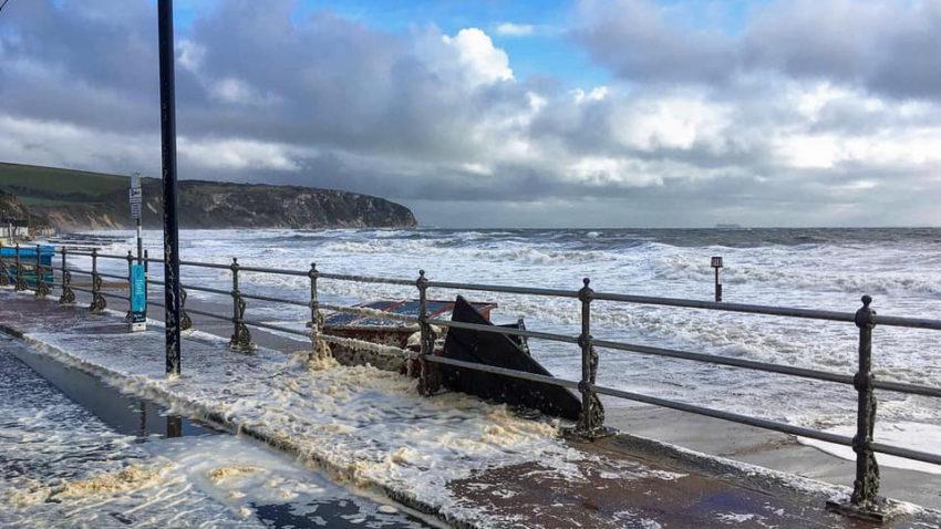 Storm Alex floods road