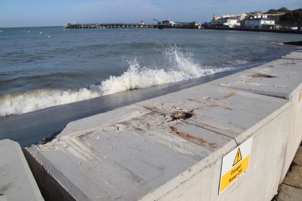 Swanage temporary flood defences