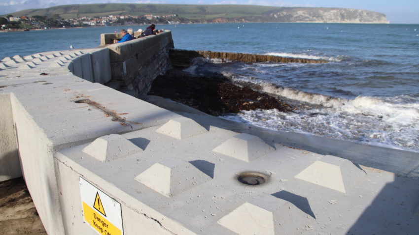 Swanage temporary flood defences