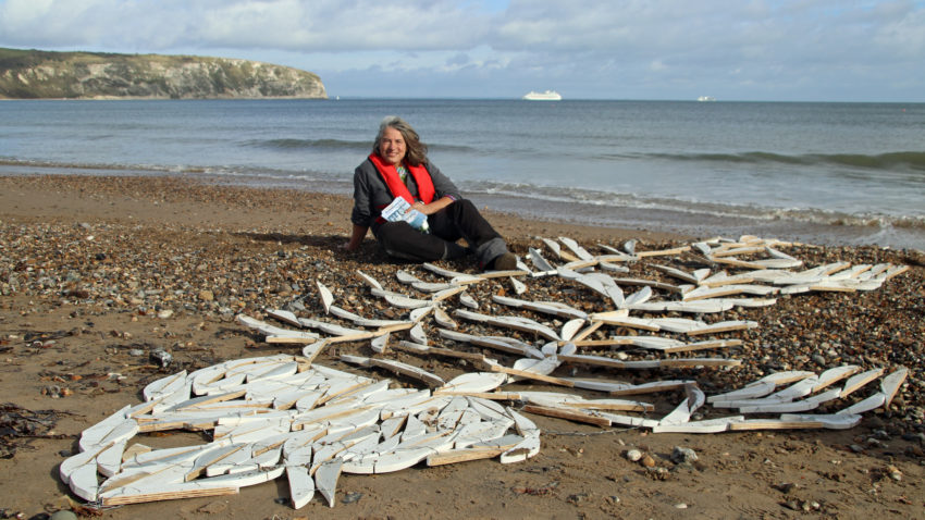 The Disappearing Fish installation at Swanage Beach