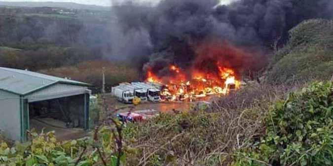 Bin lorries destroyed by fire