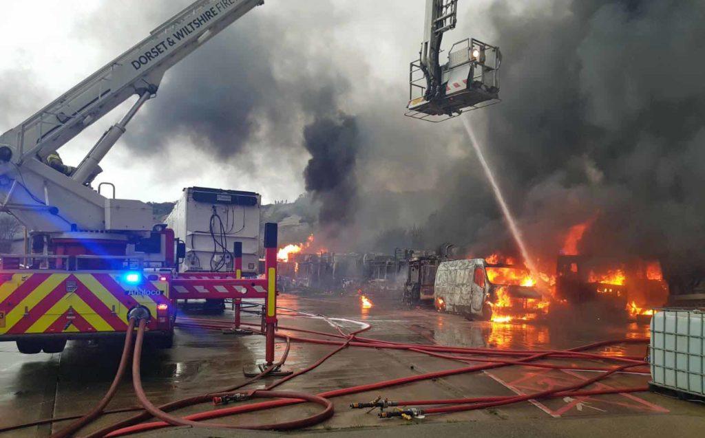 Bin lorries on fire
