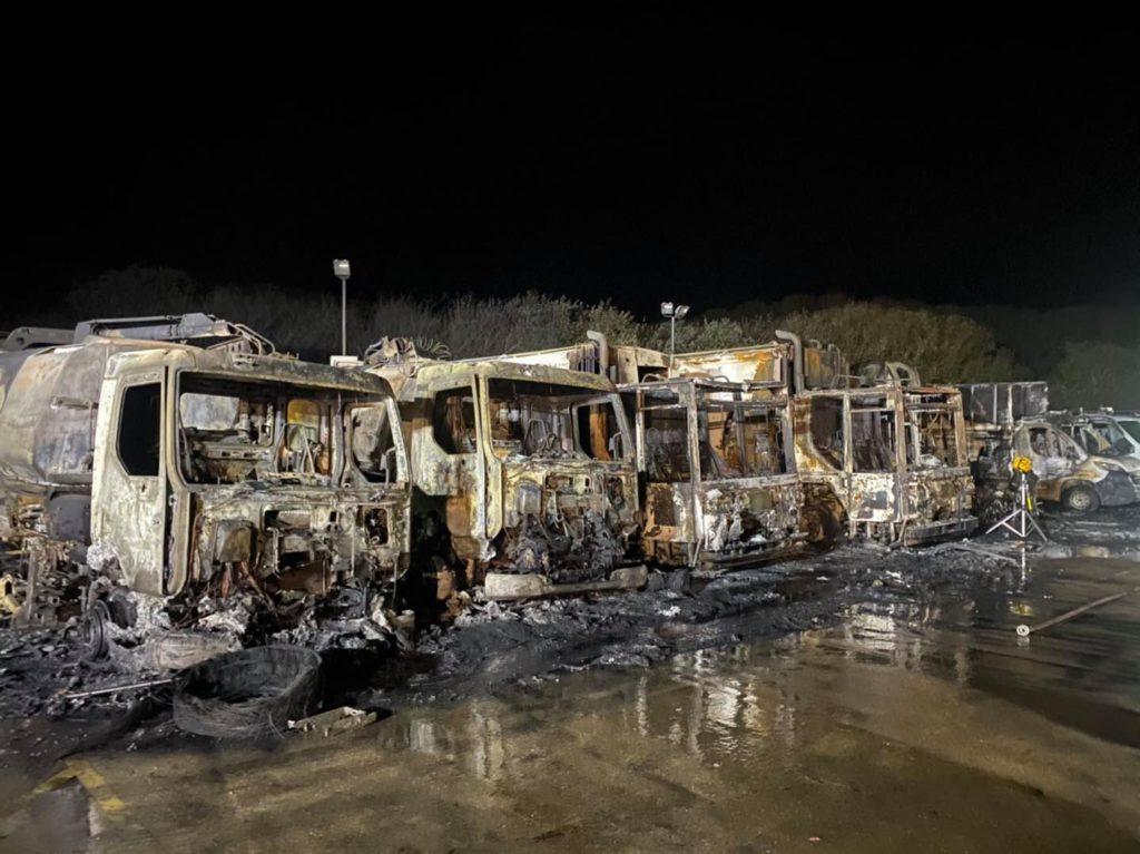 Burnt out bin lorries