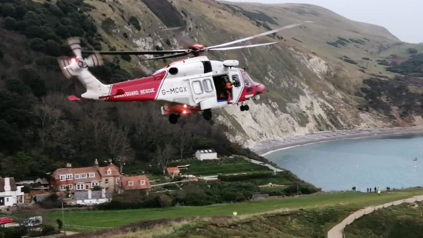 Coastguard helicopter at Lulworth