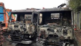 Fire damage of bin lorries