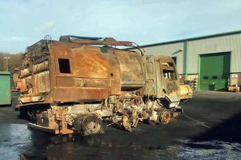 Fire damage of bin lorrie