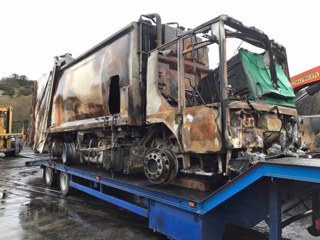 Fire damage of bin lorries