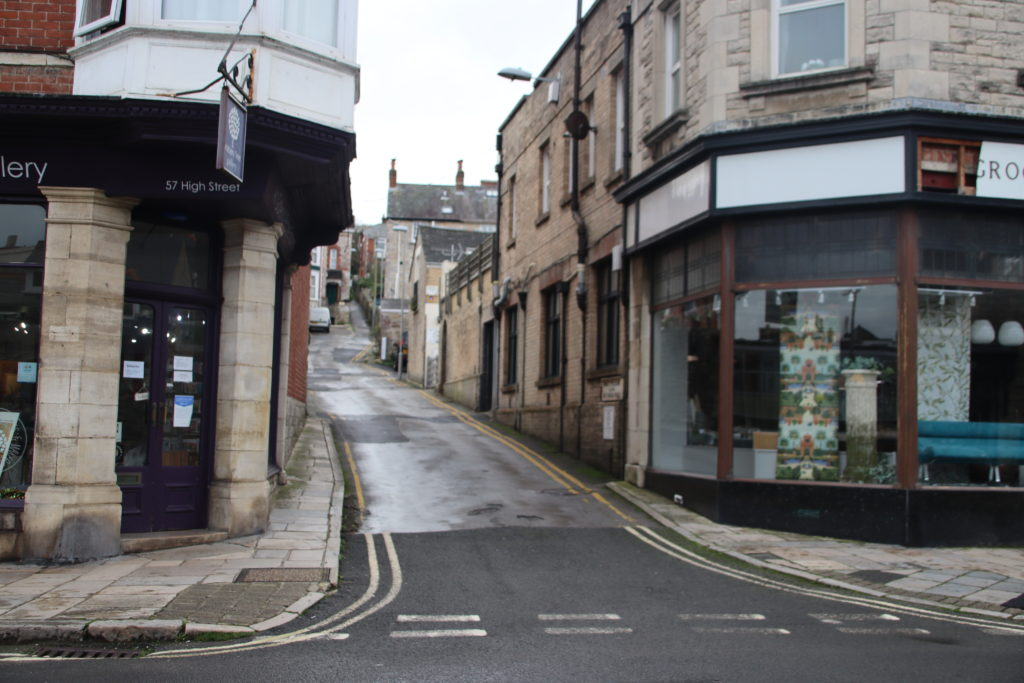 Mount Pleasant Lane at junction with High Street, Swanage