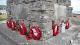 Poppy wreaths at Swanage War Memorial