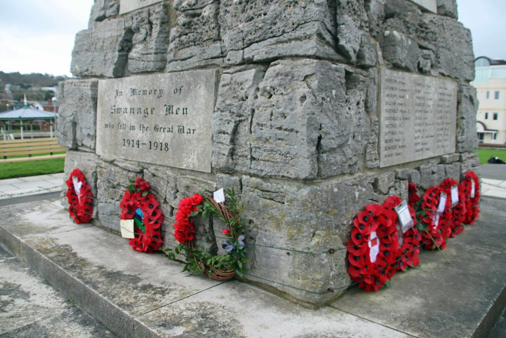 Poppy Wreaths at Swanage War Memorial on Remembrance Day 2020