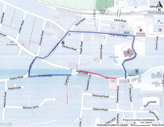 Map of road closure and diversion