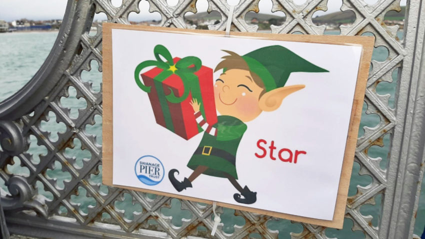 A picture of an elf as part of the Christmas activities on Swanage Pier
