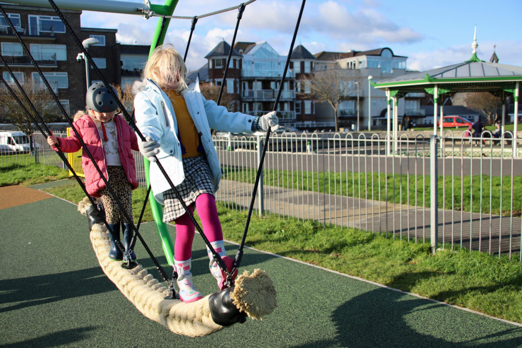 Rope swing in the playground