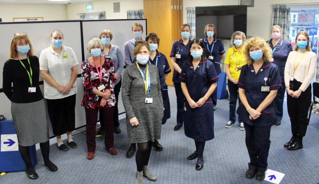Covid vaccination team at Dorset County Hospital