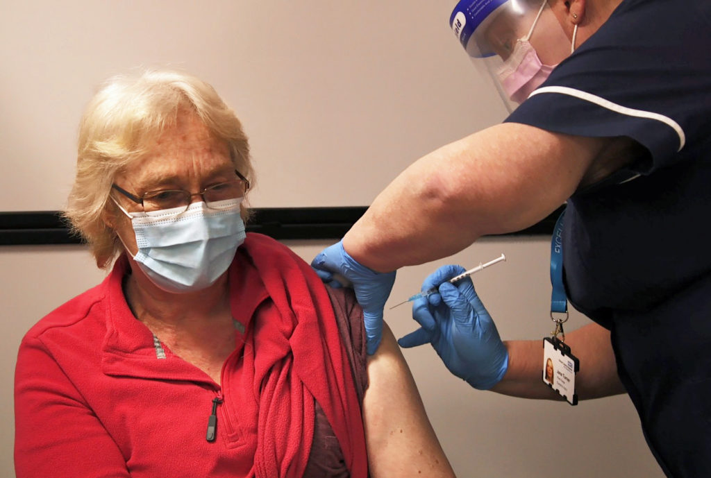 Dorset resident receives the Covid vaccine at Dorset County Hospital