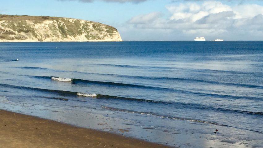 Swanage beach in December 2020