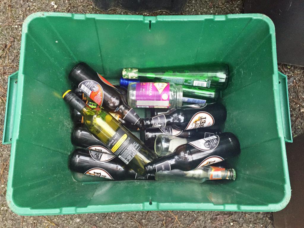Glass recycling bin