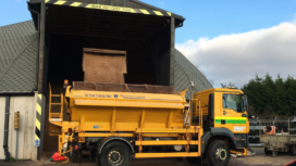 Loading a gritter at Charminster Depot