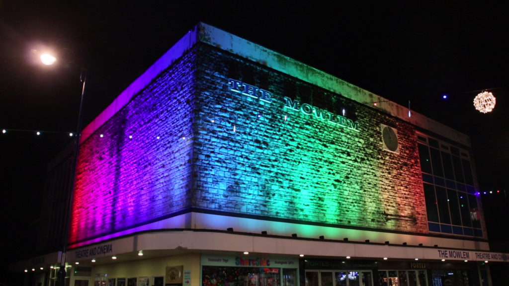 Coloured lights on the exterior of the Mowlem for Christmas