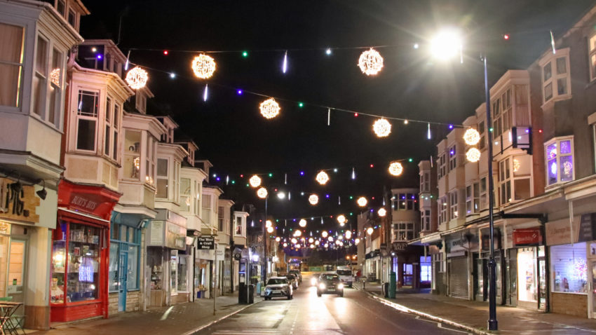 Christmas lights in Station Road 2020