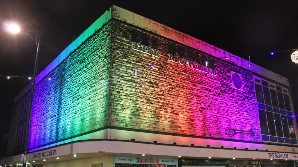 A light show on The Mowlem for Christmas