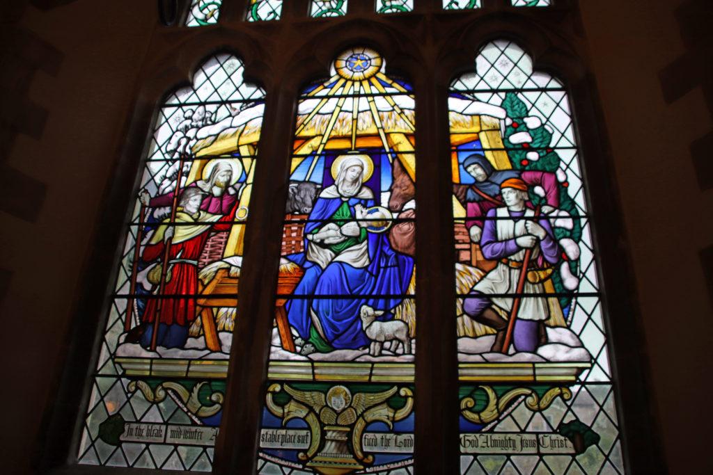 St Mary's church window with the virgin Mary