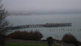 Swanage Pier in fog in December 2020