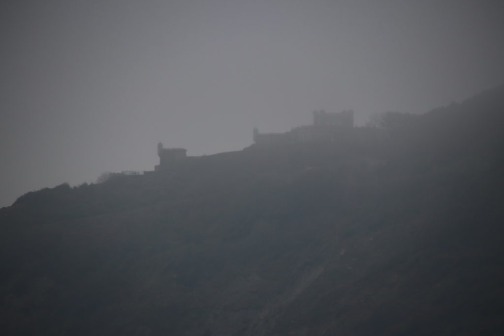 Durlston Castle in the fog
