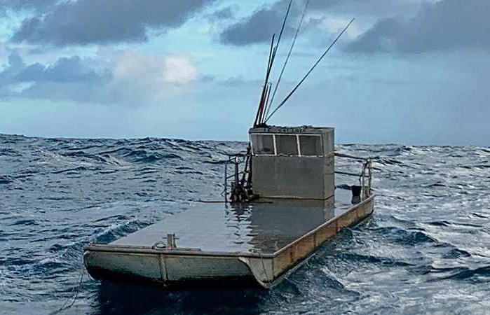 Boat adrift at sea