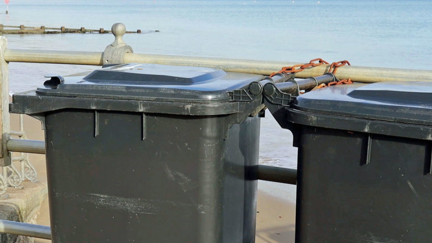 Bins on Swanage seafront