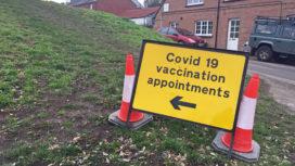Covid vaccine sign in Wareham