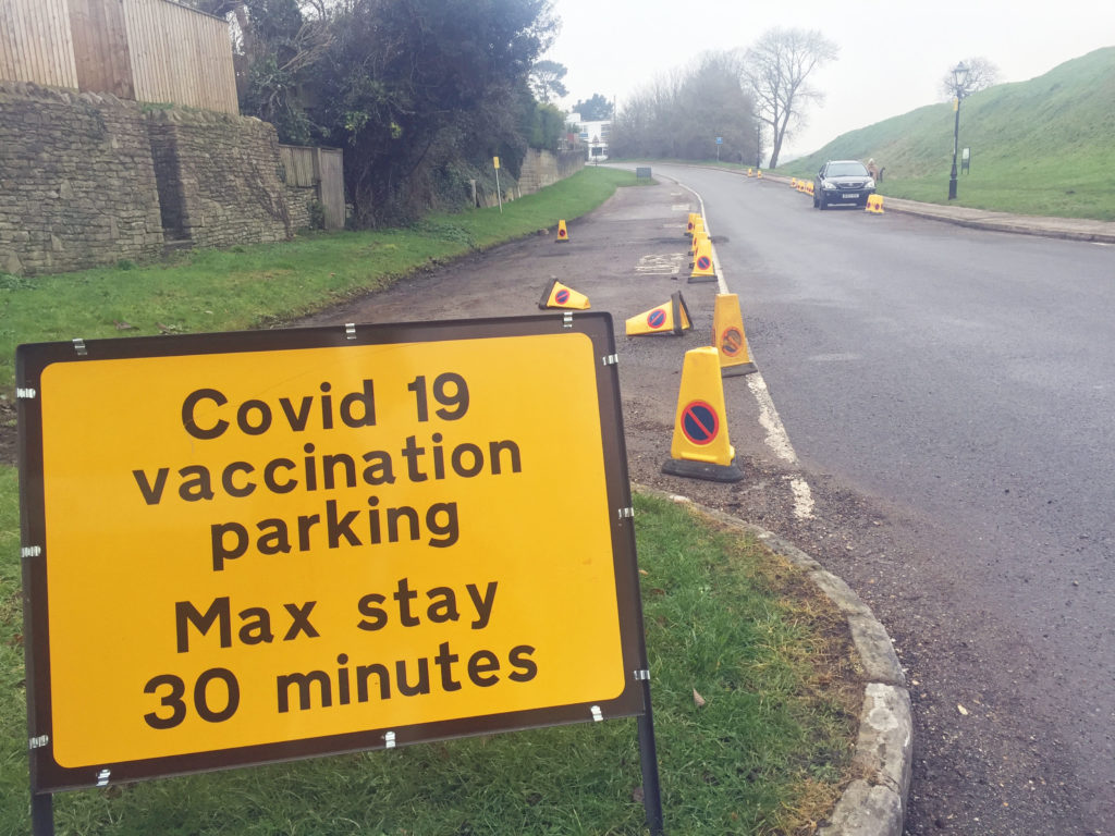 Covid vaccine signs in Wareham