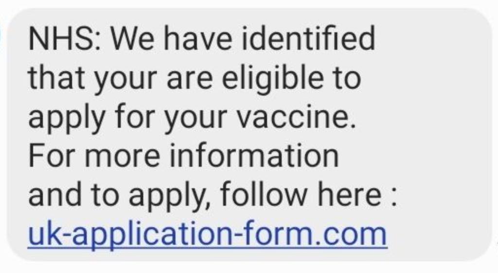 Vaccine scam text