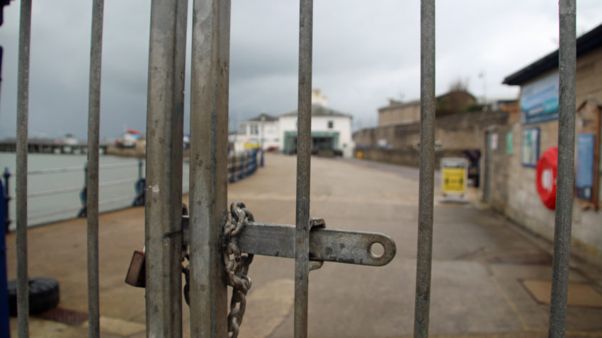 The gates are locked at Swanage Pier
