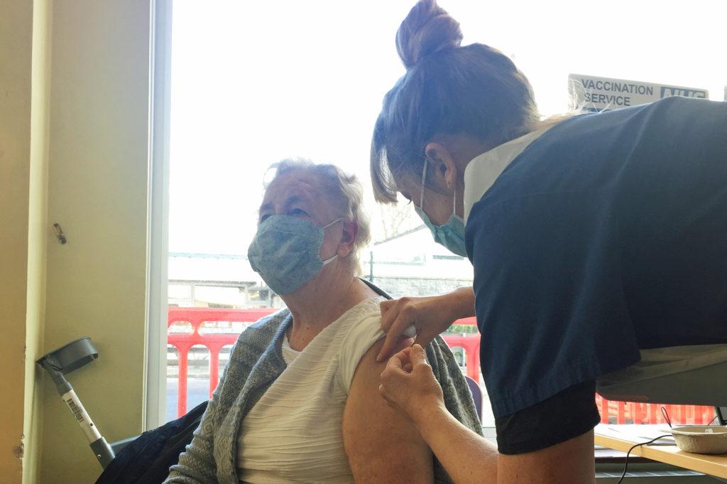 Patient receiving Covid vaccine