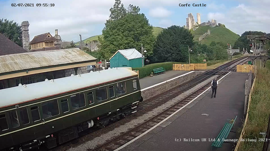 View of Corfe Castle Railway Station from the webcam