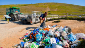 Clearing up Litter at Durdle Door