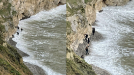 People caught by the tide at Lulworth