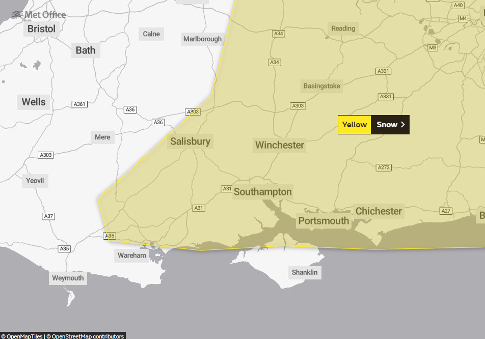 Yellow Weather Warning of snow for north and east Dorset