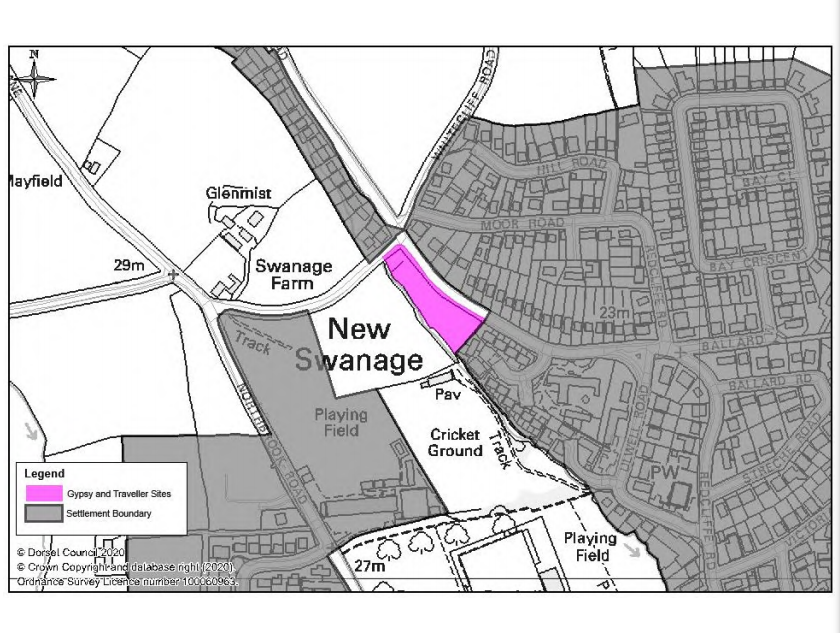 Proposed location of gypsy and traveller site in Swanage