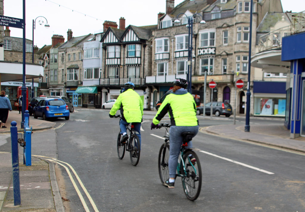 Cyclists in Swanage town centre