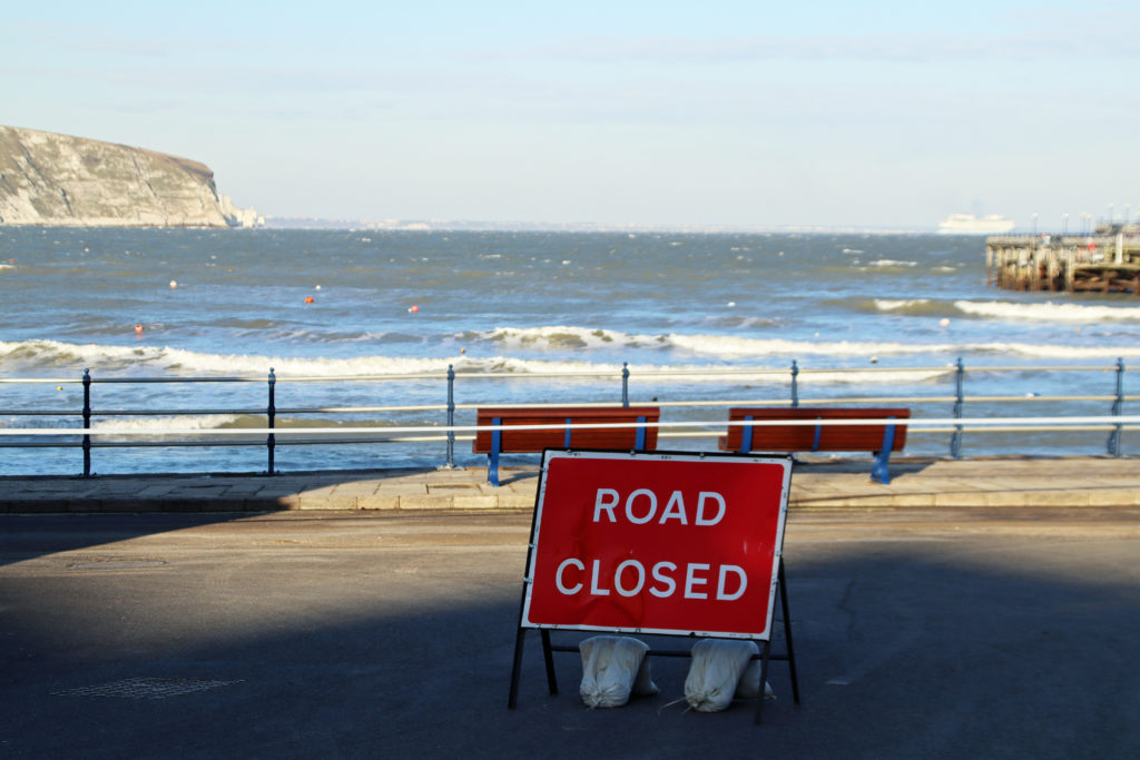 Road closed sign on Swanage seafront