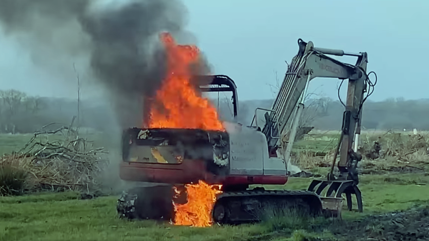 Digger on fire