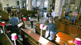 Filming taking place inside St Mary's Church Swanage