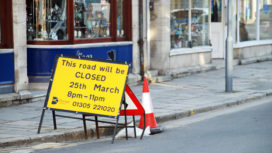 High street roadworks sign