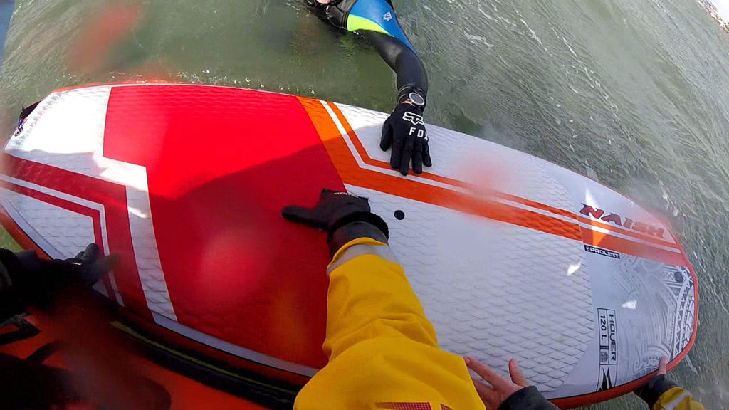 Wing surfer rescue