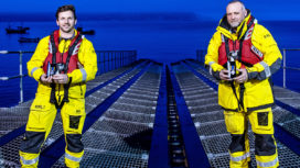 Matt Steeden and Tom Greasty receive RNLI long service medals