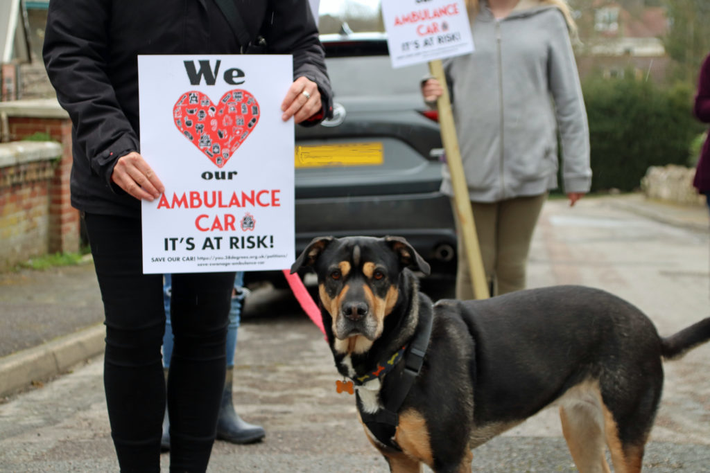 Save our paramedic car campaigners and dog